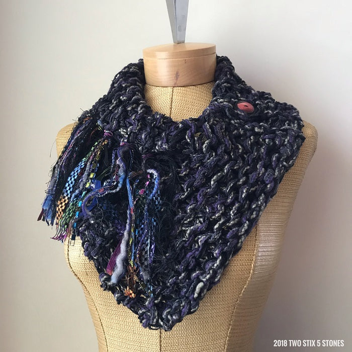 Purple Tweed Shawlette w/Fringe