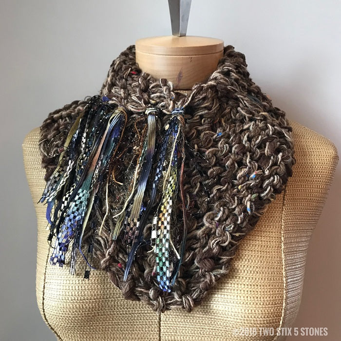 Brown Tweed Shawlette w/Fringe