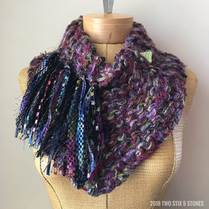Purple Tweed Shawllette w/Fringe & Ceramic Button