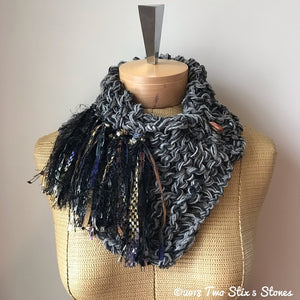 Grey & Black Tweed Shawlette w/Fringe