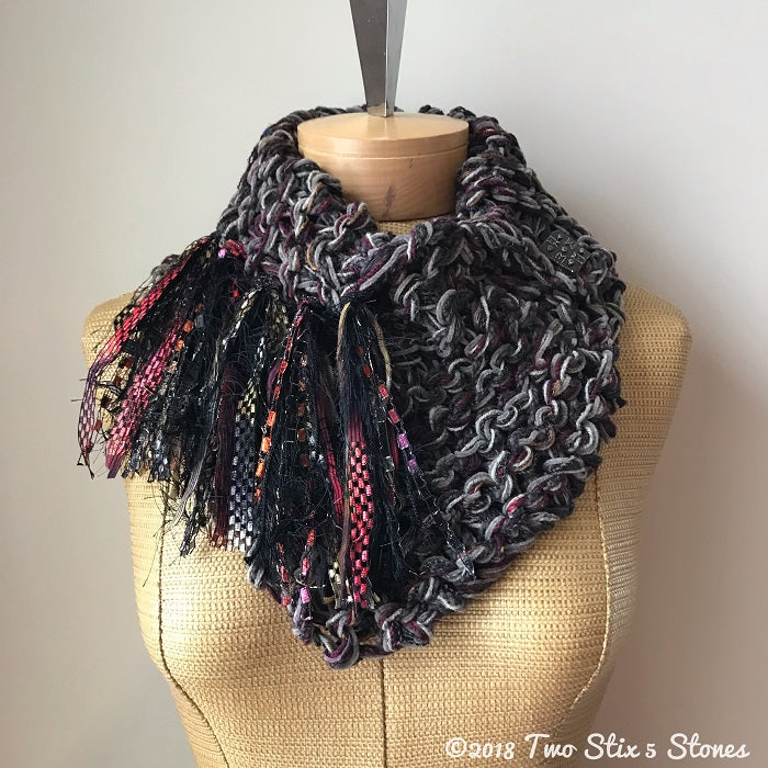 Grey/Brown/Purple Tweed Shawlette w/Fringe