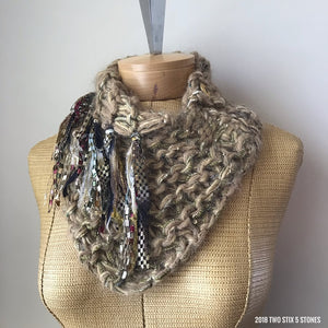 Tan Tweed Shawlette w/Fringe & Button