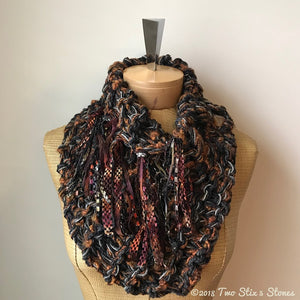 Brown & Rust Tweed Shawlette w/Fringe