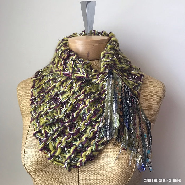 Green & Purple Tweed Shawlette