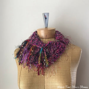 Mini Pink Tweed Shawlette w/Fringe