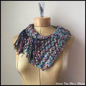 Colorful Tweed Shawlette w/Fringe