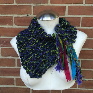 Purple & Green Tweed Shawlette w, Fringe  (SL58)