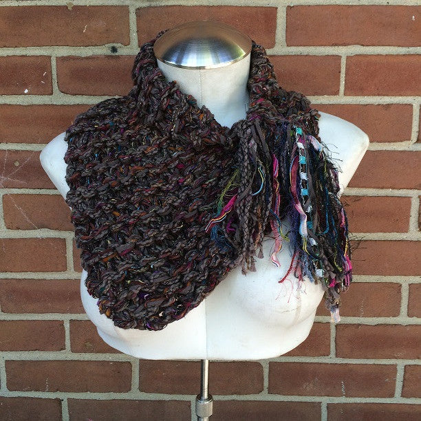 Chocolate Brown Shawlette w/Fringe, (SL60)