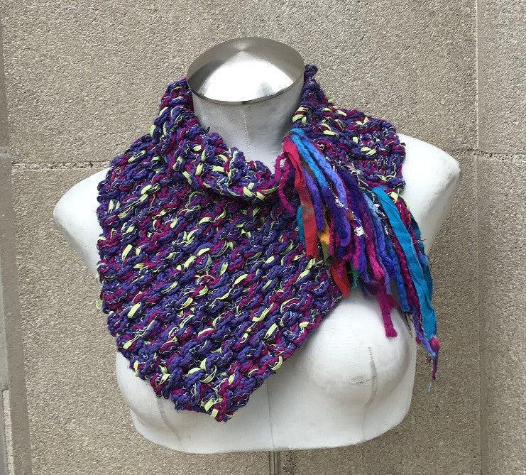 Purple & Green Tweed Shawlette w/Fringe (SL7)