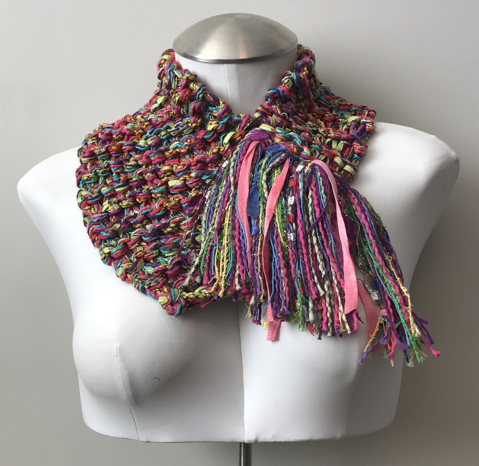 Bright Pink & Green Tweed Shawlette w/Fringe (SL703)