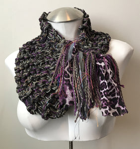 Purple Green Tweed Shawlette (SL705)