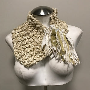 Cream Tweed Shawlette w/Metallic Accents, (SL84)