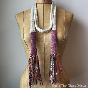 Ivory w/Orange Metallic Accents Skinny Scarf w/Fringe
