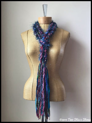 Teal & Burnt Orange Tweed Scarf