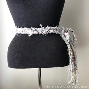 White Tweed Scarf/Belt/Headband  (TS011)