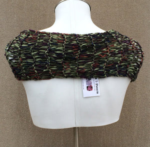 Camouflage Loose Knit Shawl w/Ceramic Button.
