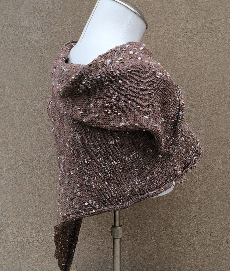 Luxe Handmade Fine Knit Brown Tweed Shawl w/Button