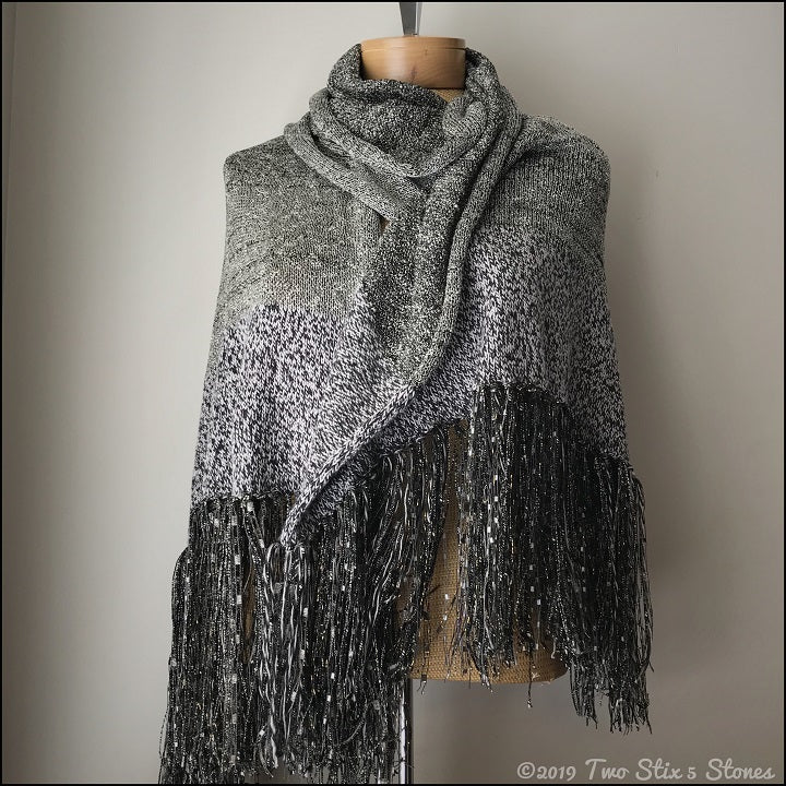 Luxury Grey & Black Tweed Wrap w/Fringe