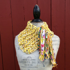 Electric Yellow Tweed Shawlette w/Fringe