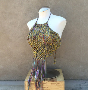 Yellow Tweed Knit Halter Top