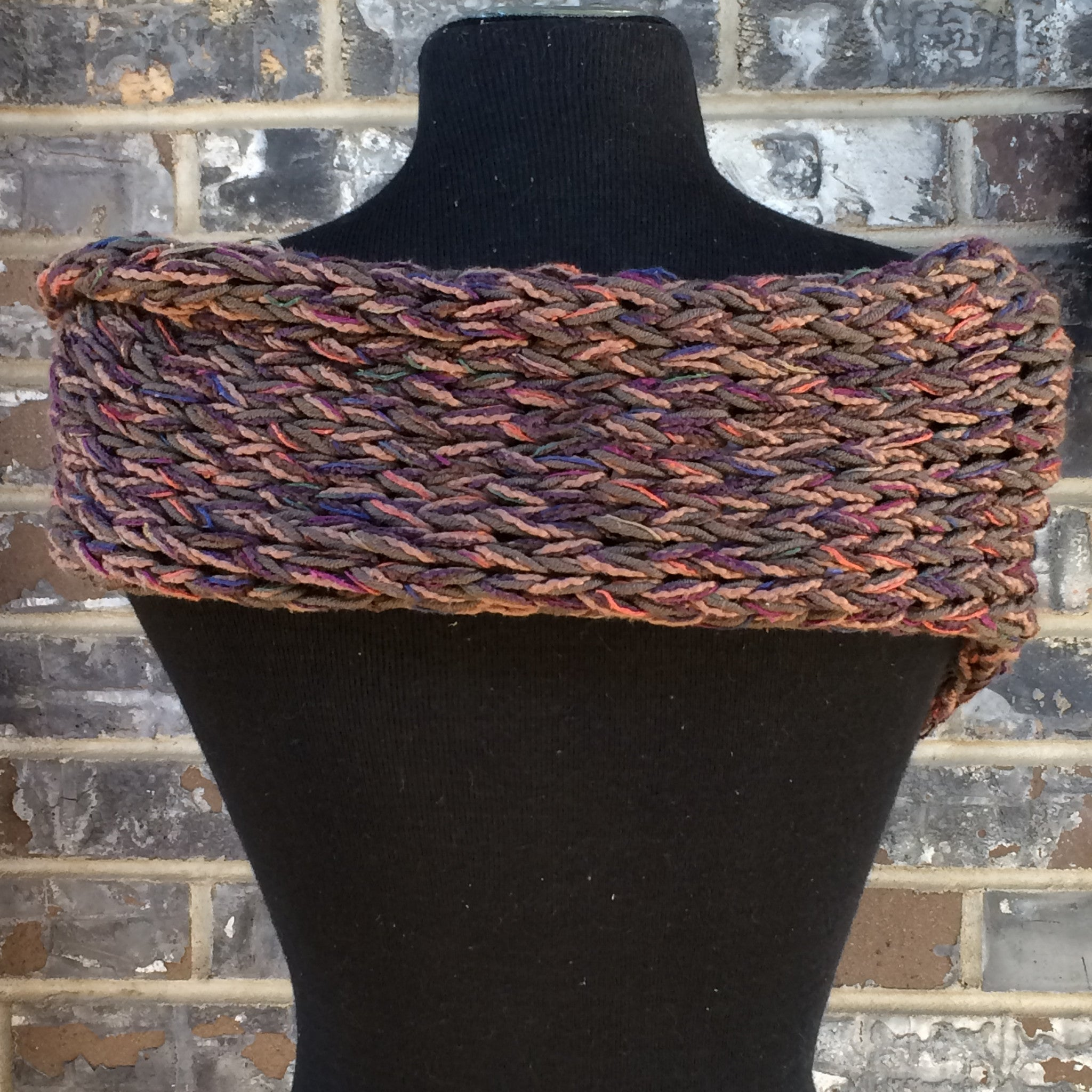 Brown Tweed One-of-a-kind  Shawl w/Button