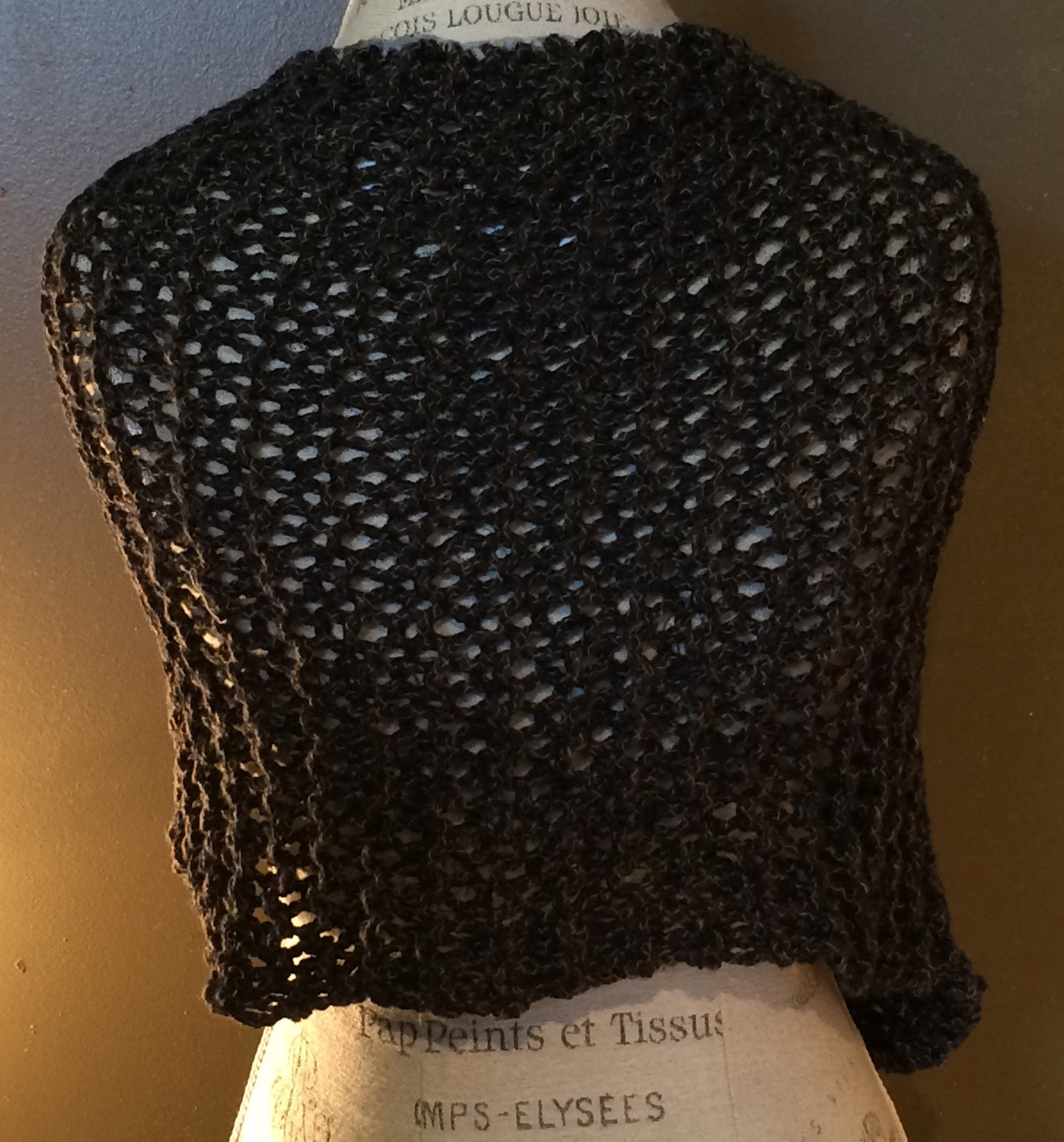 Black Tweed, Asymmetrical 3 Button, Hand Knit Shawl
