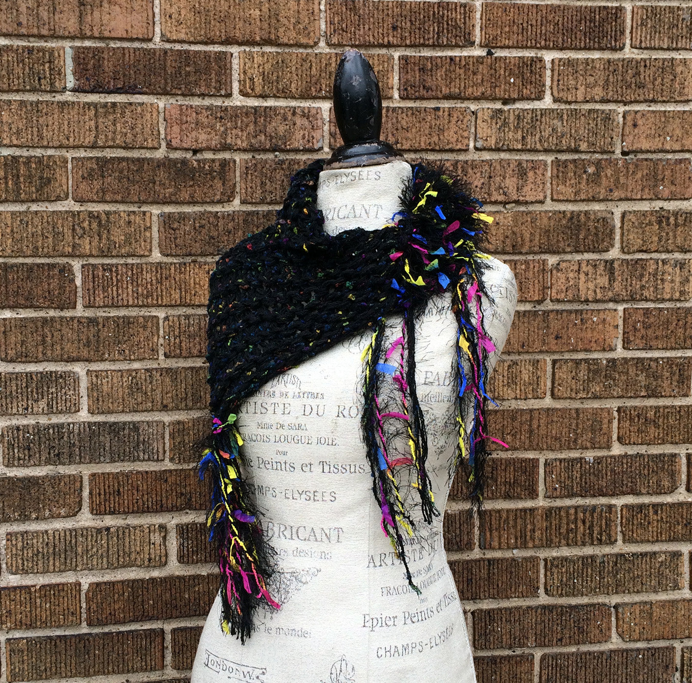Funky Black Tweed Hand Knit One-of-a-Kind Shawlette