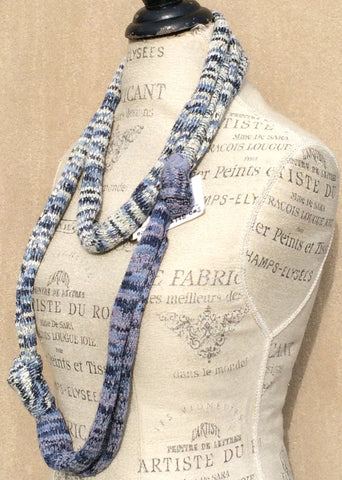 Blue & White Tweed Necklace/Scarf