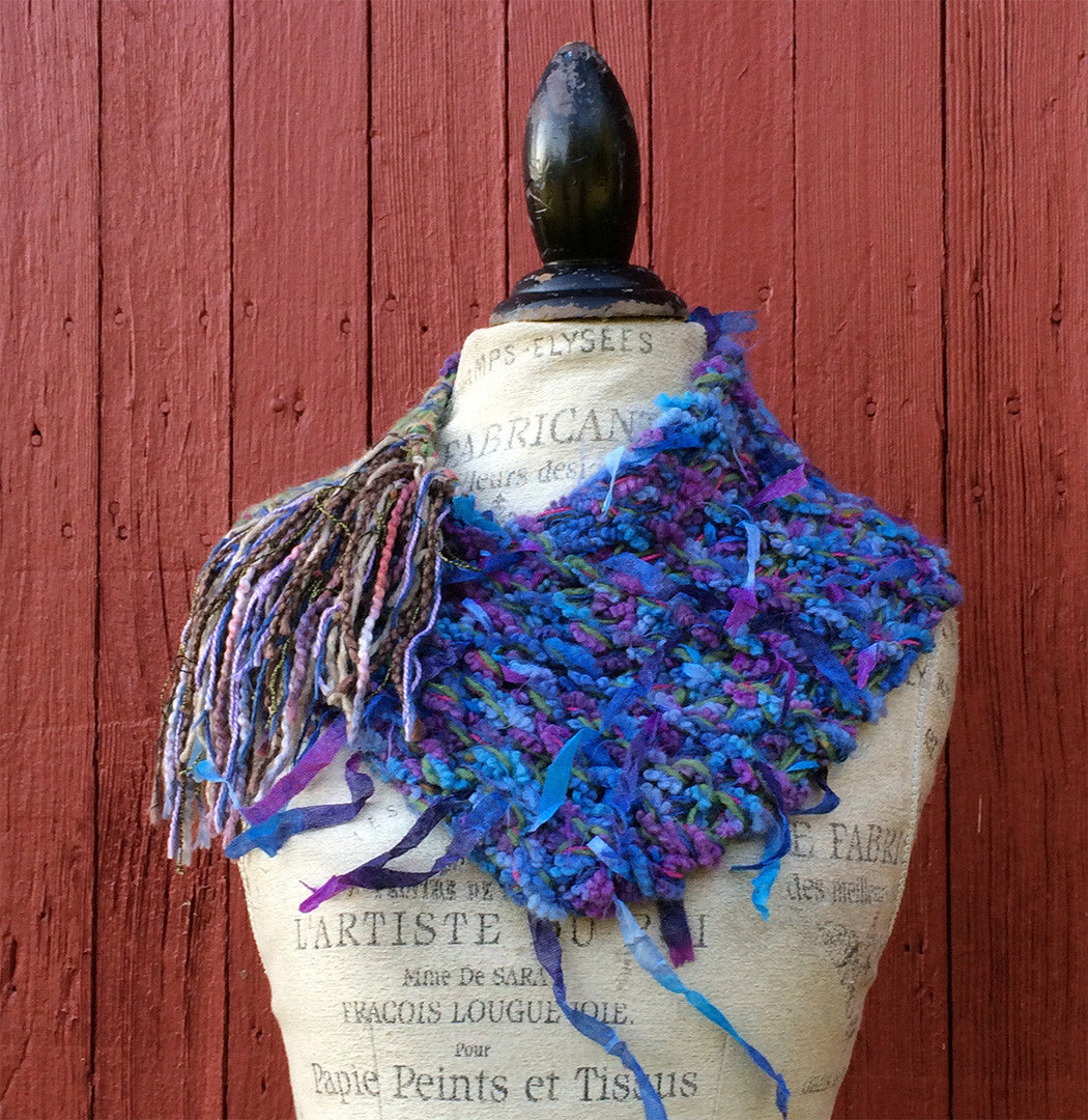 Blue Tweed Shawlette w/Fringe