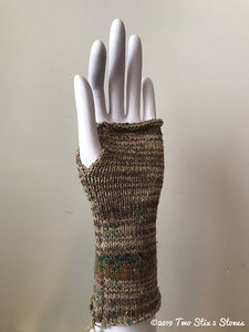 Tan Tweed Fingerless Gloves