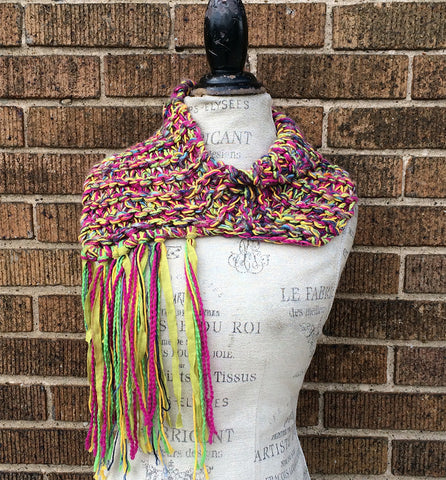Colorful Tweed Shawlette w/Metal Button