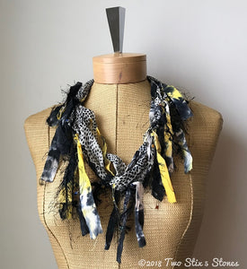 Black & Grey w/Yellow Accents *Funky Chic* Fiber Necklace