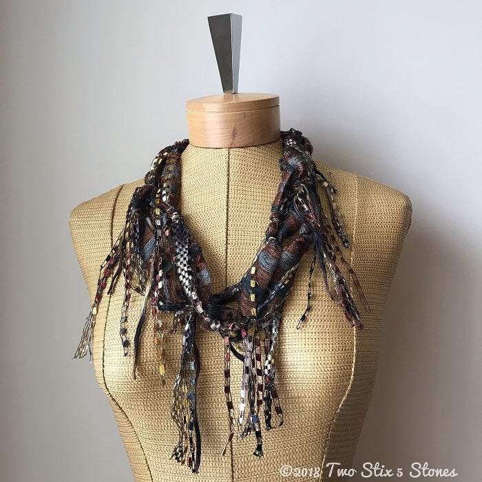 Brown Toned *Funky Chic* Fiber Necklace