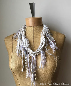 White w/Metallic Accents *Funky Chic* Fiber Necklace