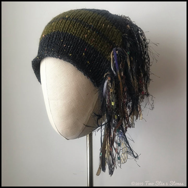 Black w/Green Stripes Signature *Funky Chic Hat*