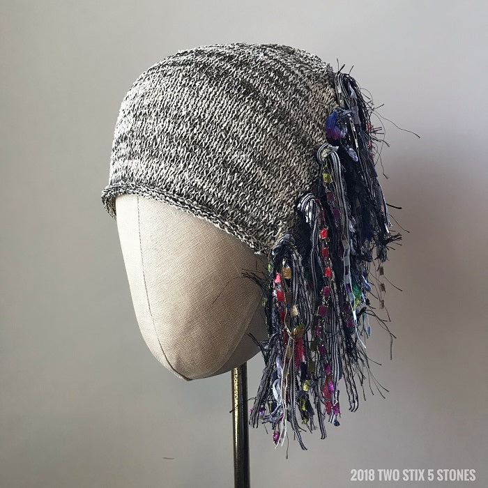 Black & White Tweed w/Metallic Accents *Funky Chic Hat*