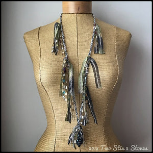 Tan & Olive Tones Fiber Necklace