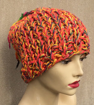 Funky Orange Tweed Tassel Hat