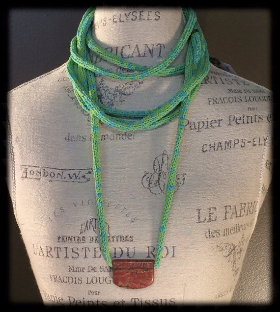 Lime Green Fiber Art Necklace with Stone