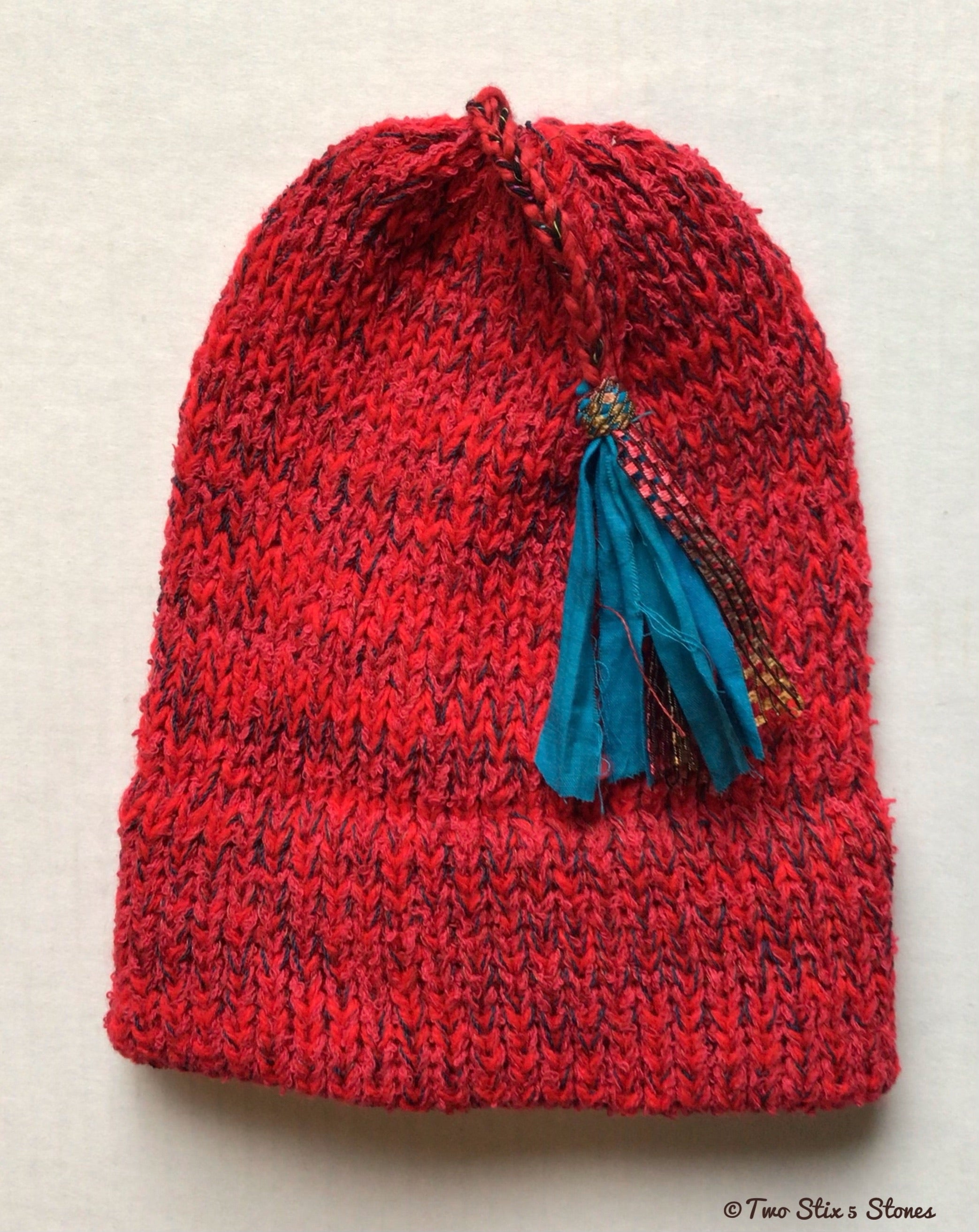 (Age 2-4) Red Tweed *Funky Tassel* Hat