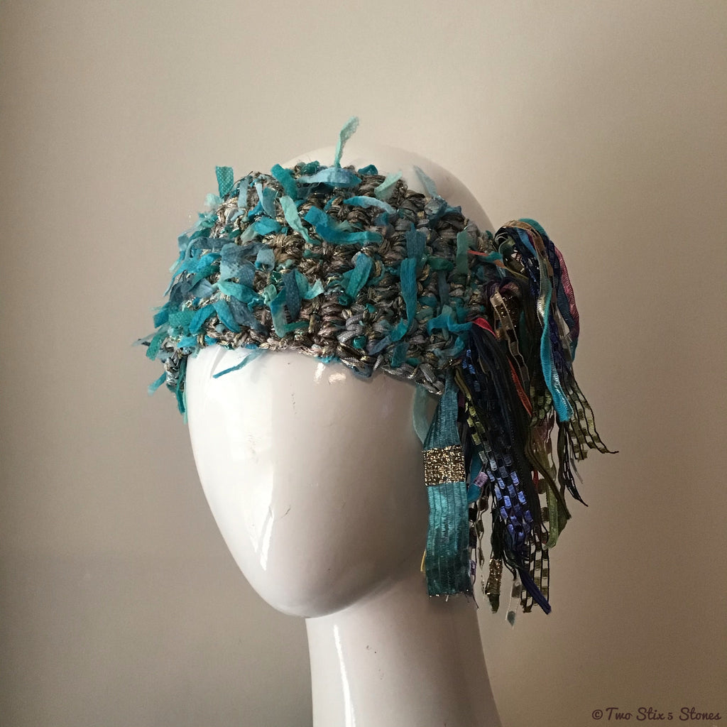 Luxe Blue Tweed *Funky Chic* Headband