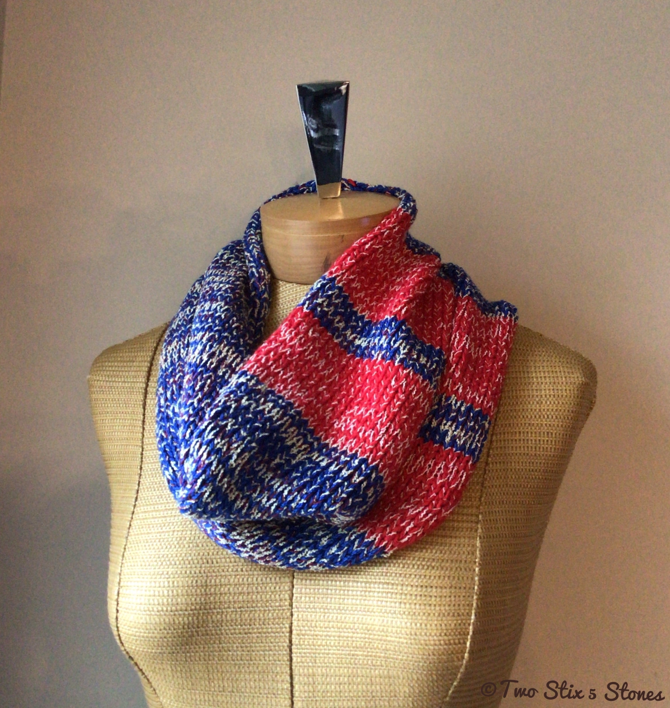 Blue/White/Red Tweed Cowl