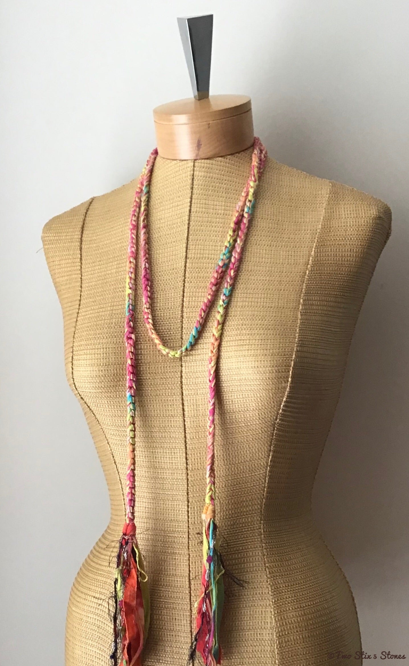 Pink Variegated Choker Necklace/Belt