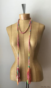 Pink & Yellow Tweed Choker Necklace/Belt