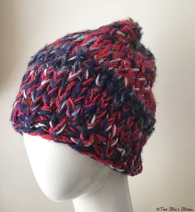 Red & Navy Blue Thick & Slouchy Hat