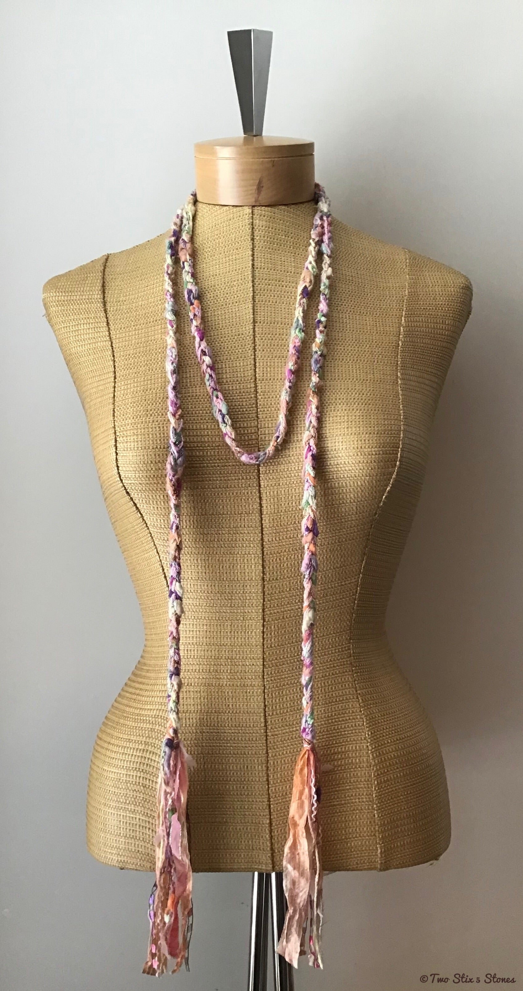 Pale Pink Tweed Choker Necklace/Belt