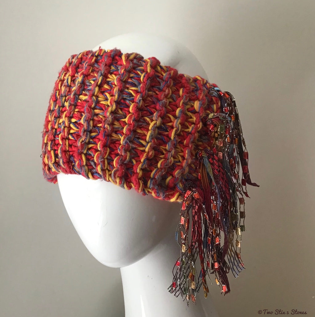 Red/Yellow/Blue/Orange Tweed *Funky Chic* Headband