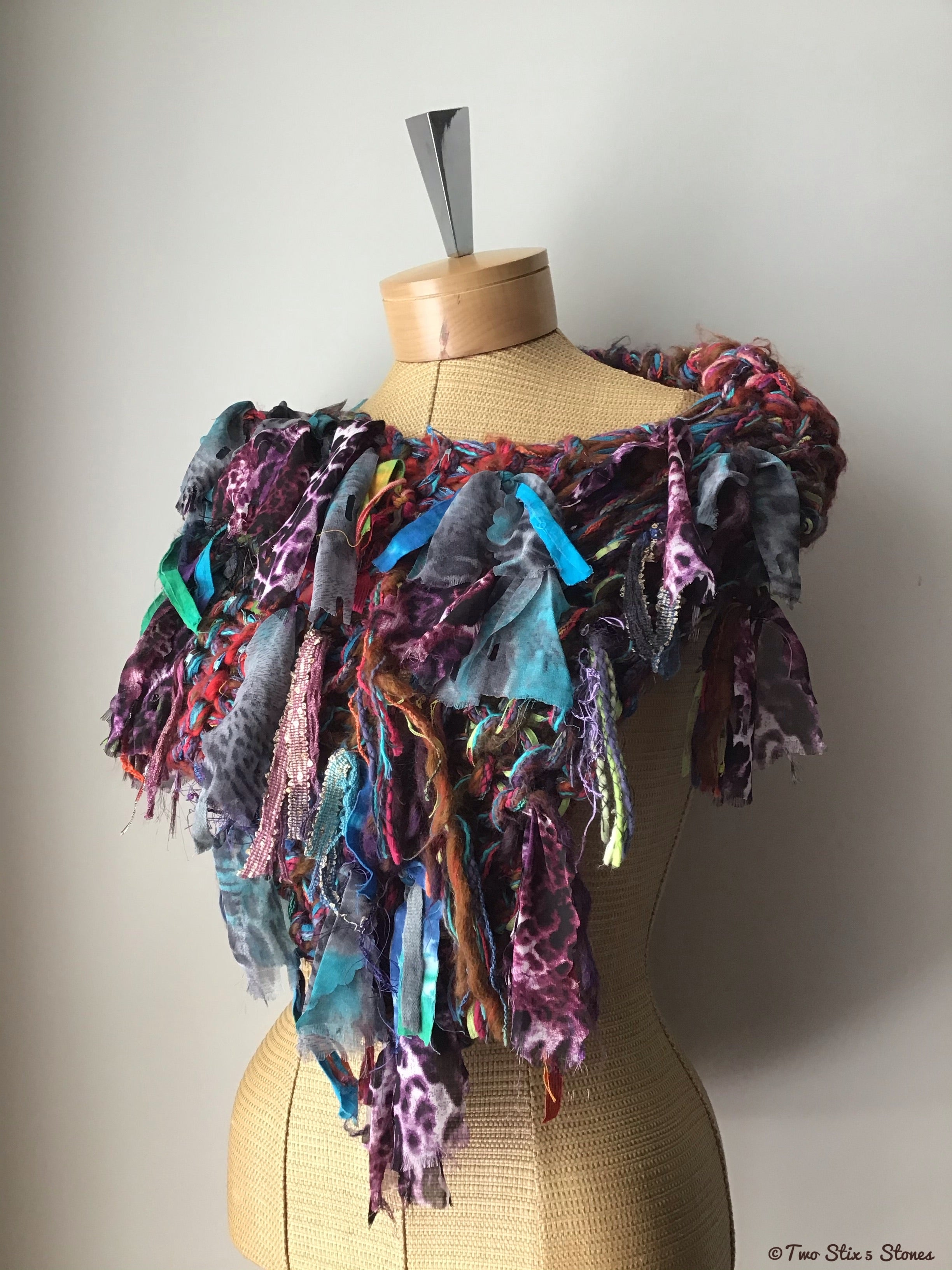 Funky Purple Tweed Handknit Shawl