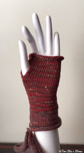 Cranberry Tweed Fingerless Gloves
