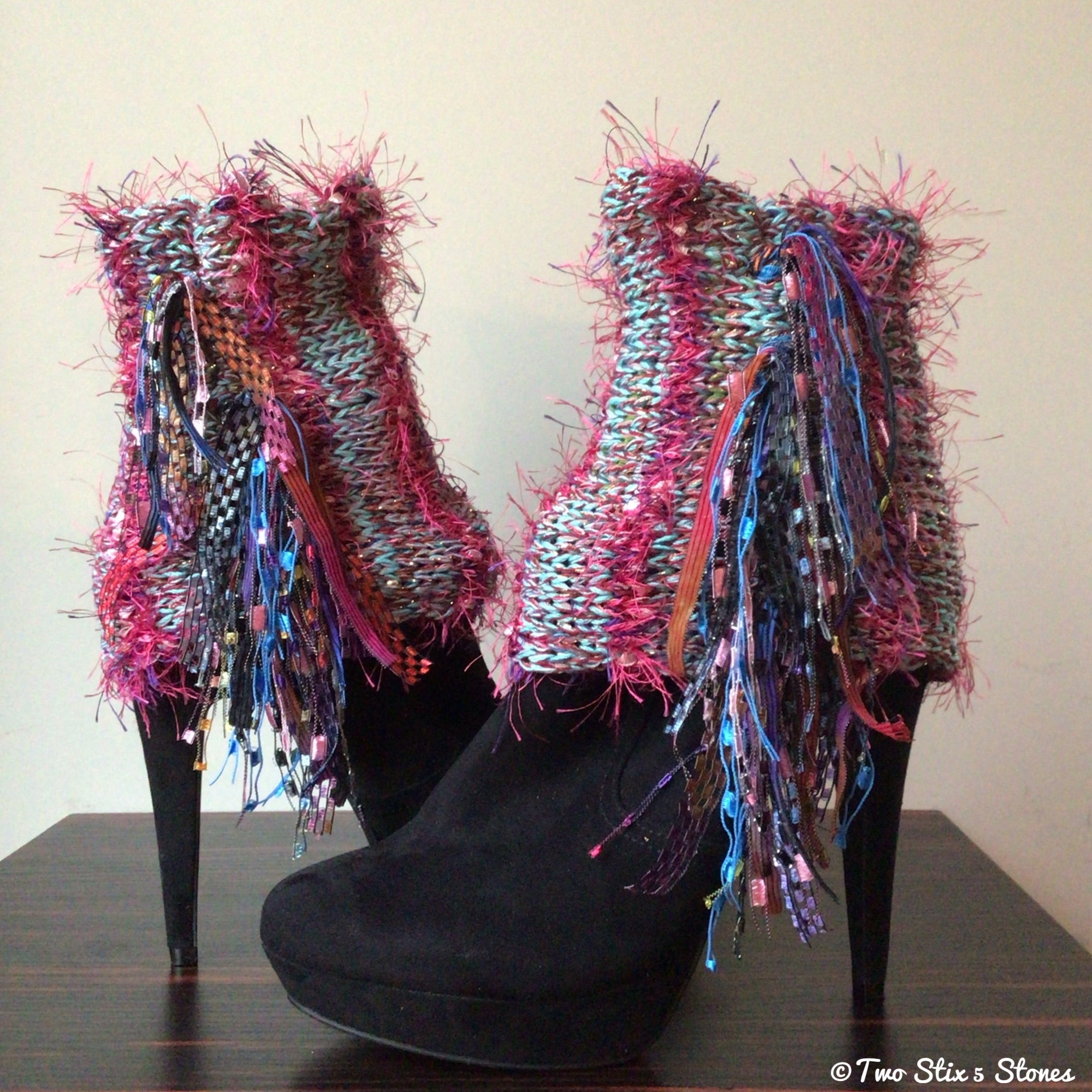 Luxe Turquoise & Pink Tweed *Diva Chic* Boot Toppers